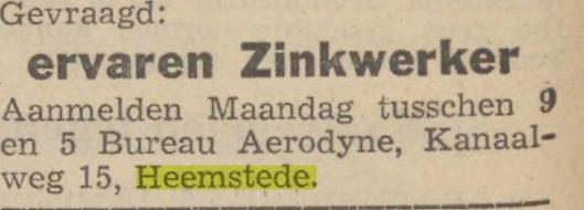 Advertentie van Aerodyne, Kanaalweg 15 Heemstede. (Haarlem's Dagblad, 6-12-1941)