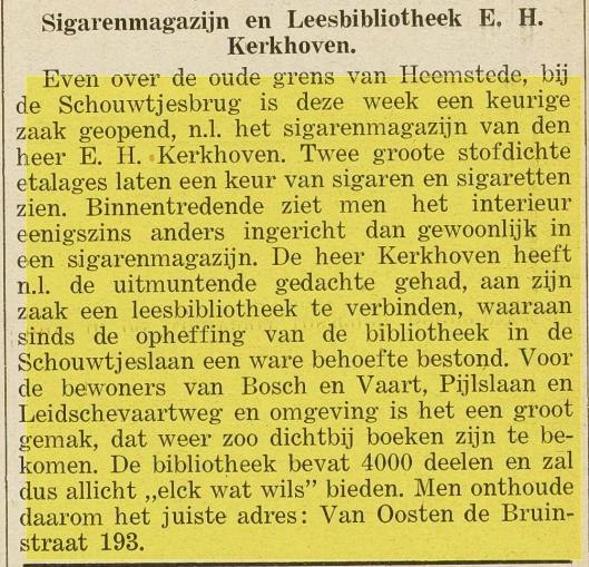 Bericht van E.H.Kerkhoven over leesbibliotheek Van Oosten de Bruinstraat 193