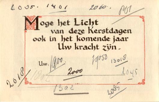 Kerstkaart die Jacoba van Tongeren Kerst 1944 onder de leden van Groep 2000 heeft verspreid en Paul van Tongeren bij een verzamelaar aantrof.