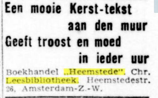 Adv. boekhandel-leesbibliotheek 'Heemstede', Heemstedestraat 26, Amsterdam (De Standaard, 8-12-1944)