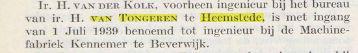 In 1939 ging ir. van der Kolk van ingenieuersbureai van Tongeren over naar machinnefbriek de Kennemer in Beverwijk. (ts. De Ingenieur, 7-7-1939)