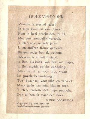 'Boekverzoek' door Clinge Dooorenbos; versje vervaardigd in opdracht van de Alg. Ned. Bond van Leesbibliotheekhouders in 1953 [Frank Divendal]