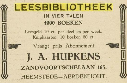 Advertentie van leesbibliotheek Zandvoortselaan 165, toen nog beheerd door J.A.Hupkens