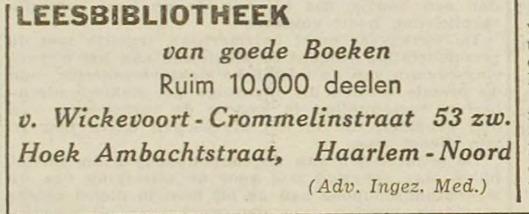 Advertentie leesbibliotheek in Van Wickevoort Crommelinstraat 53 Haarlem-Noord. Uit: Haarlem's Dagblad van 8-11-1941