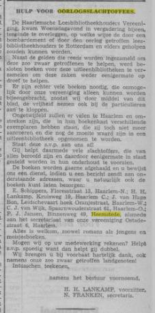 Hulp van Haarlemse Leesbibliotheekhouders na bombardement Rotterdam. Uit: Haarlem's Dagblad 29-6-1940