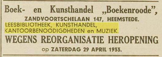 Adv. van Leesbibliotheek etc. 'Boekenrode;, Zandvoortselaan 147