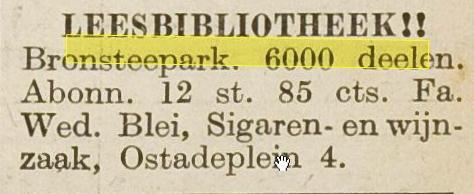 Adv. van Leesbibliotheek, Van Ostadeplein 4, Heemstede