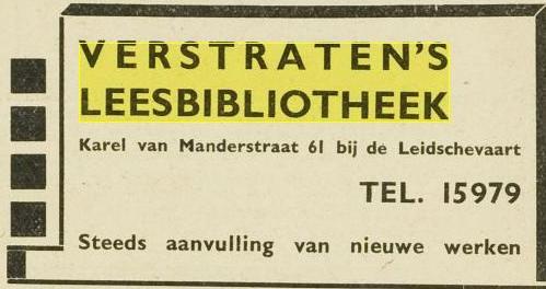 Advertentie van Verstraten's Leesbibliotheek, Karel van Manderstraat 61, Haarlem