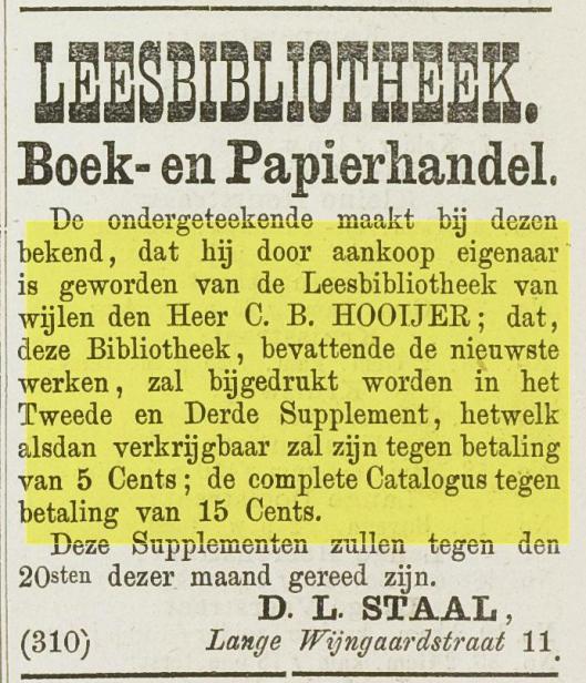 Adv. Leesbibliotheek D.L.Staal, Lange Wijngaardstraat 11, Haarlem