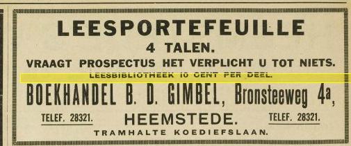 B.D.Gimbel, Bronsteeweg 4a Heemstede