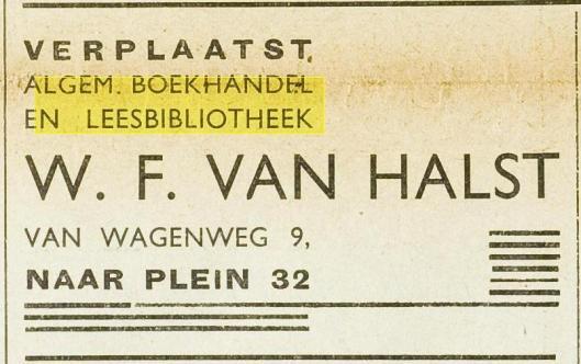 Adv. van verhuizing leesbibliotheek W.F.van halst van Wagenweg 9 naar Plein 32