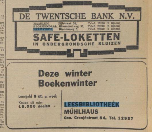 Leesbibliotheek Mühlhaus, Generaal Cronjéstraat 84, Haarlem [Uit Haarlem's Dagblad van 30-12-1943]