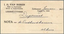 Briefhoofd J.H.van Buren, leesbibliotheek, Zaltbommel (Streekarchief Bommelerwaard)