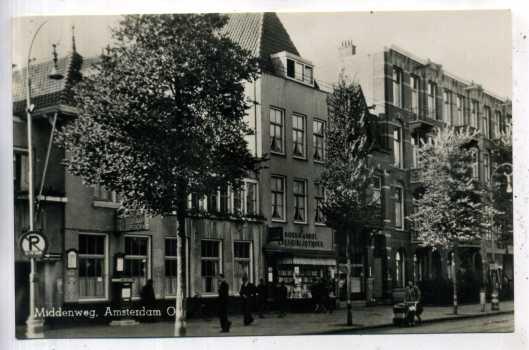 Prentbriefkaart van boekhandel-leesbibliotheek Lintveld, Middenweg Amsterdam