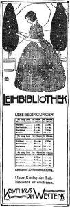 Advertentie/bladwijzer van Leenbibliotheek in Kaufhof des Westens (KaDeWe). Berlijn, 1907