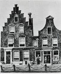 Boekhandel en woonhuis van uitgever Adriaan Loojes aan de Gedempte Oude Gracht in Haarlem op een schilderij van Johannes Reekers uit omstreeks 1818