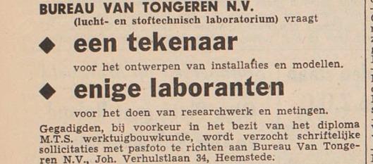 Na de dood van Herman van Tongeren is bureau van Tongeren als lucht- en stoftechnisch laboratorium nog enkele decennia voortgezet op het adres Johannes Verhulstlaan 34 en in een nieuw bedrijfspand aan de Industrieweg in Heemstede