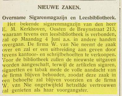 Bericht dat W.van Nie de leesbibliotheek van E.Kerkhoven overneemt, Van Oosten de Bruinstraat 213 Haarlem