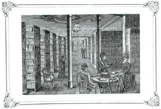 Interieur van Nordmeyer'schen Leihbibliothek van R. Kollamnn in Hannover, 1886