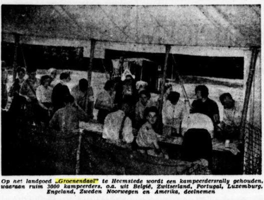 Opening rallykamp Heemstede, uit: De Tijd van 4 augustus 1947