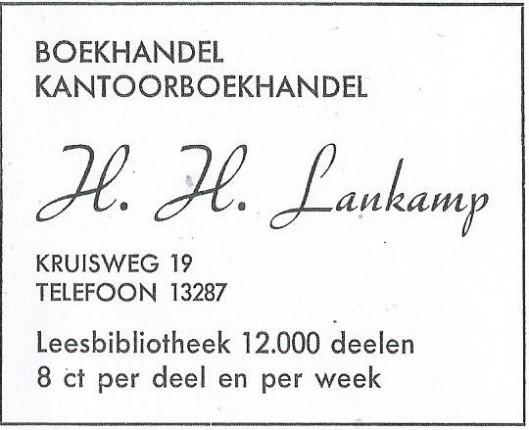 Advertentie van boekhandel, kantoorboekhandel en leesbibliotheek H.H.Lankamp uit adresboek Haarlem 1946