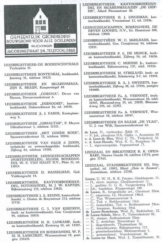 Het grootste aantal commerciële leesbibliotheken in Haarlem telden men kort na de Tweede Wereldoorlog. Hierboven een overzicht uit het adresboek van 1946, waarbij nog horen o.a. - LECTURA, leesbibliotheek, boek- en papierhandel J.W.H.Braam, P.Kiesstraat 40, Keizerstraat 8 en LEESBIBLIOTHEEK, boek- en kantoorboekhandel 'A-Z'Bedrijf, Amsterdamstraat 13, Allard Piersonstraat 30