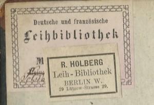 Etiketten uit boek van Leihbibliotheken R.Holberg, 29 Lützow-Strasse 29 + Koenigin-Augustastrase 6, Berlin
