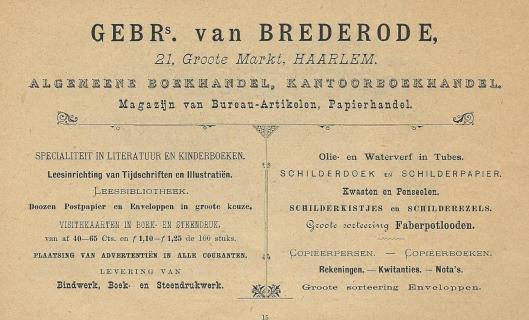 Advertentie Gebroeders van Brederode Haarlem uit 1895