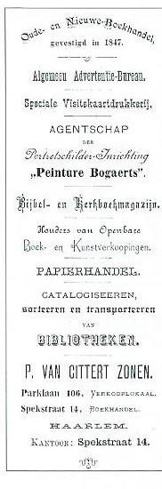 Briefhoofd uit 1895 van de firma P.Cittert Zonen (1847-circa 1955) in de Spekstraat Haarlem