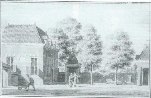 Vredenhof. Tekening pen en penseel van Cornelis Pronk, 1731 (NHA)