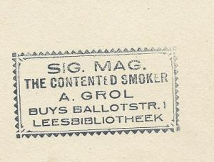 Stempel van leesbibliotheek (annex sigarenmagazijn) A.Grol, Buys Ballotstraat 1, Amsterdam