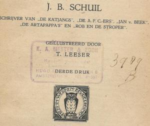 Stempel van leesbibliotheek K.A.Mester & Zn., Hugo de Grootlaan 5 Amsterdam