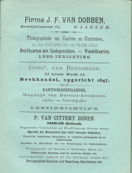 Advertenties van boekhandels-leesinrichtingen uit: Gids voor Haarlem en omstreken, 3e herziene druk, 1897