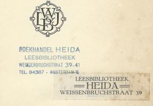 Boekhandel-Leesbibliotheek Heida, Weissenbruchstraat 39-41, Amsterdam