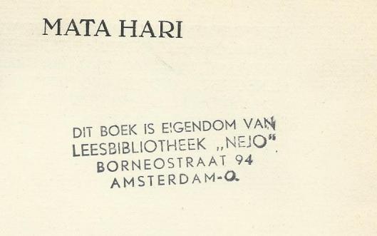 Boekstempel leesbibliotheek 'Nejo', Borneostraat 94, Amsterdam-Oost