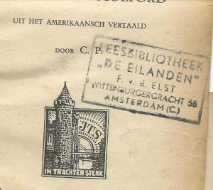 Boekstempel van leesbibliotheek 'de Eilanden', F.v.d. Elst, Wittenburgergracht 55, Amsterdam