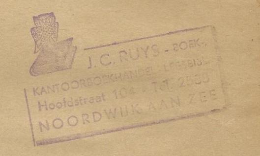 Boekstempel leesbibliotheek J.C.Ruys, Noordwijk aan Zee