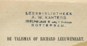 Boekstempel Leesbibliotheek A.W.Kanters, Josephlaan, Rotterdam