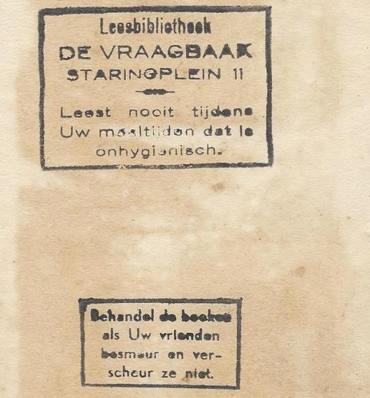 Stempel van leesbibliotheek 'De Vraagbaak', Staringplein 11, Amsterdam