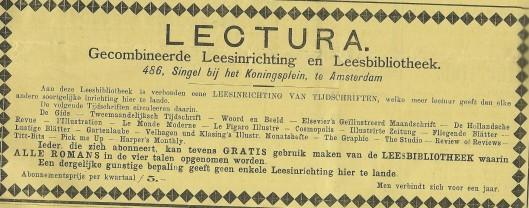 Advertentie van Leesinrichting en Leesbibliotheek Lectura, Singel 486, Amsterdam. Uit: De Kroniek van 15 november 1896.