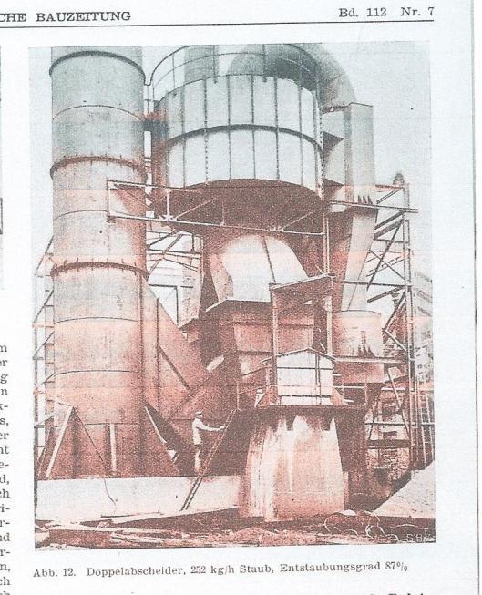 De door ir. Van Tongeren uitgevonden cycloon kreeg internationale aandacht, zoals in een artikel Van K.H.Konyi, gepubliceerd in: Schweizerische Bauzeitung, 111/112, 1938, Heft 7. Op deze illustratie de 'Doppelabschneider, 252 kg/h Staub, Entstaubungsgrad 87%.