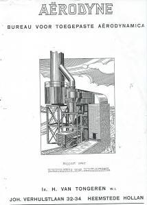 Titelblad van een rapport door ir.H.van Tongeren over vonkenvangers voor dieselmotoren; een uitgave van Aërodyne, bureau voor toegepaste aerodynamica, circa 1935.