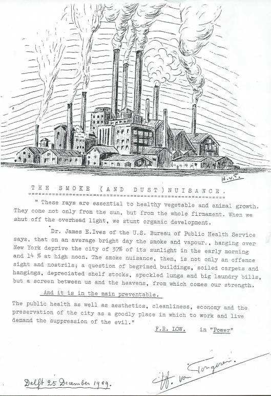 'The Smoke (and Dust) Nuisance door H.van Tongeren. Delft, 25 december 1929.