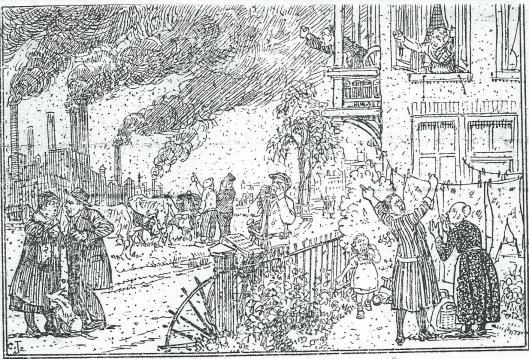 Eén van 2 tekeningen die Cornelis Jetses op verzoek van Van Tongeren maakte uit omstreeks 1928/1929. Onder deze illustratie kwam te staan: VOOR ONZE HULP WERD INGEROEPEN.