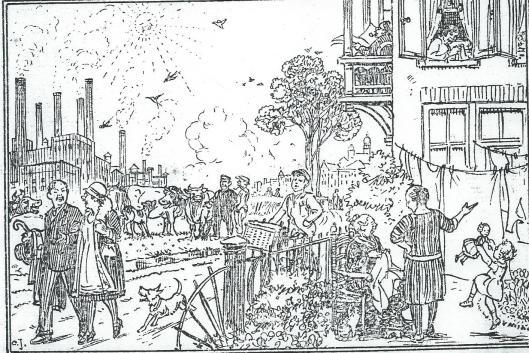DE tweede tekening van Jetses met onderschrift: 'NA ONZE HULP BIJ DE KEUZE VAN VLIEGASCHVANGERS' (In 1942 tekende Jetses nog het geboortekaartje van Paul van Tongeren.