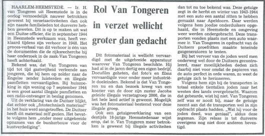 Rol Van Tongeren in verzet wellicht groter dan gedacht. Uit: Haarlems Dagblad
