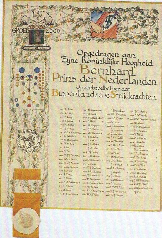 Behalve een in beperkte oplage verschenen publicatie 'Beknopt historisch verslag van de werkzaamheden van Groep 2000' door Jaccoba Johanna van Tongeren is eerder op 23 juli 1945 een oorkonder, vervaardigd door MaxNauta, op 23 juli 1945 opgedragen en overhandigd aan Z.K.H. Prins Bernhard als opperbevelhebber der Nederlandse Strijdkrachten.
