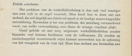 Enkele conclusies uit het rapport van H.A.Beijer: Winkelbibliotheken in Maastricht, 1949.