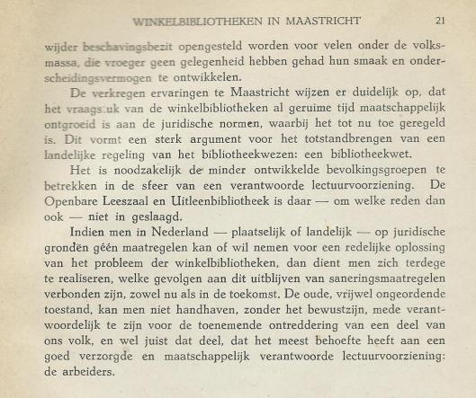 Vervolg conclusies rapport winkelbibliotheken Maastricht, 1949.