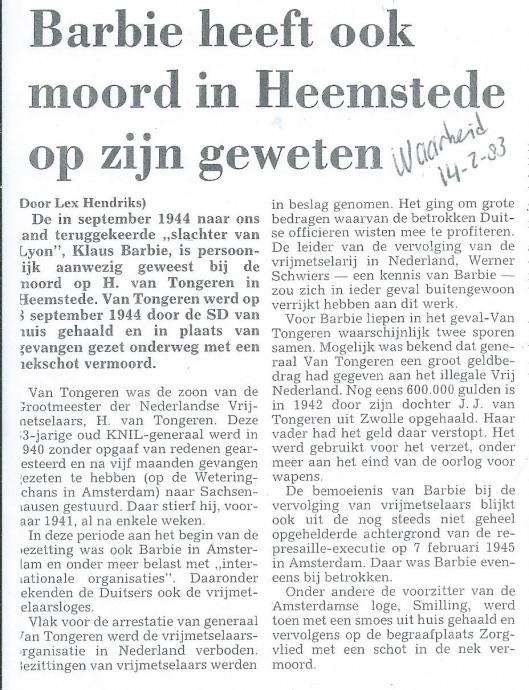 Bericht uit dagblad 'de Waarheid' van 14 februari 1983